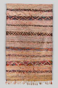 Tapis Boucherouite vintage lignes multicouleur
